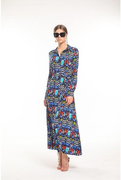 Bayamoda Desenli Kemerli Çok Renkli Uzun Elbise BYMD-3108
