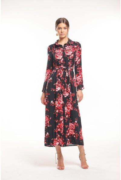 Bayamoda Gül Desenli Büzgülü Siyah Uzun Elbise BYMD-3103