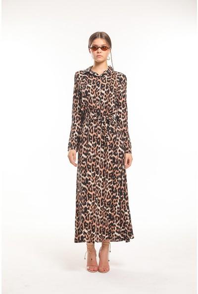 Bayamoda Leopar Desenli Kemerli Uzun Elbise BYMD-3103