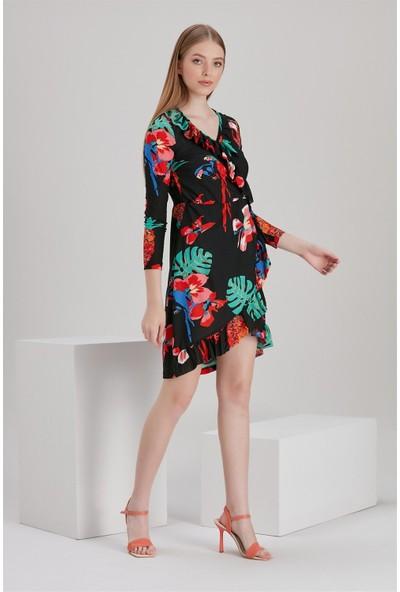 Bayamoda Çiçek Desenli Siyah Kısa Elbise %100 Polyester BYMD-2072