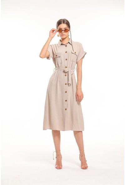 Bayamoda Beli Kemerli Kısa Kol Gömlek Elbise BYMD-4045-1