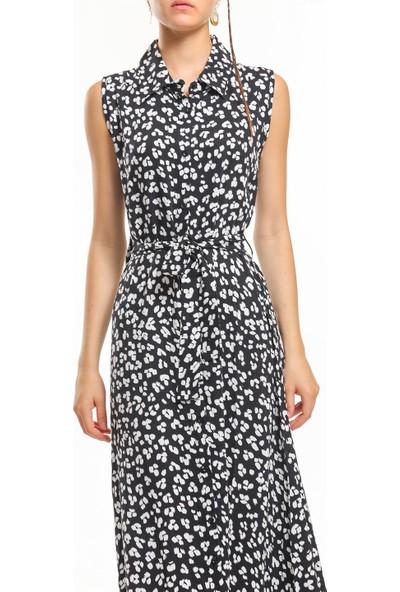 Bayamoda Siyah Beyaz Çiçekli Kemerli Kısa Kollu Elbise BYMD-3143