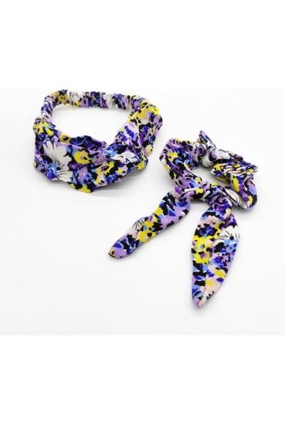 Tarz Toka Çiçek Desenli Tavşan Kulak Simit Toka + Çapraz Saç Bandı