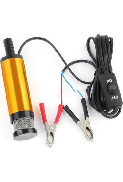 Dalgıç Pompa 12V Yakıt Yağ Su Pompası 12L/DK. 360° Filtre Çelik