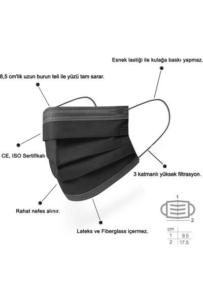 Mutlu Maske Solid Serisi Meltblown Gri Bej Pudra Bordo Siyah Renkli Cerrahi Maske Seti 100'LÜ