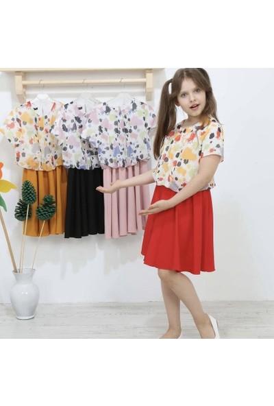 Baby Kız Çocuk Kısa Kol Elbise Kırmızı 502-
