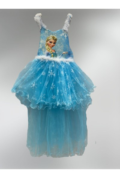 Baby Kız Çocuk Kuyruklu Elsa Frozen Elbise Mavi 0059-