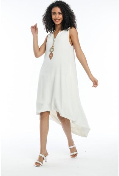 Wınd Kadın Aerobin Kumaşlı Kalın Askılı Önü Kısa Arkası Uzun Elbise Beyaz