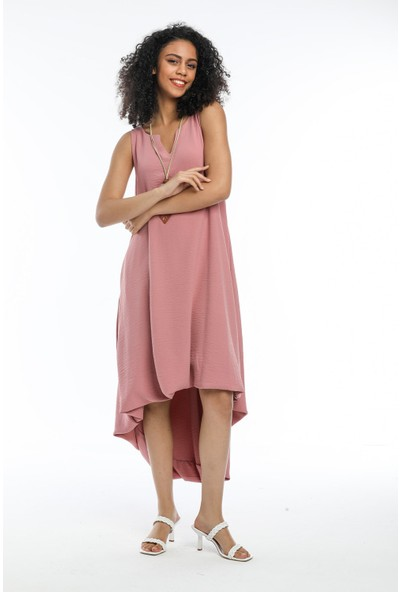 Wınd Kadın Aerobin Kumaşlı Kalın Askılı Önü Kısa Arkası Uzun Elbise Pembe