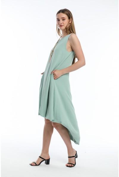 Wınd Kadın Aerobin Kumaşlı Kalın Askılı Önü Kısa Arkası Uzun Elbise Su Yesılı