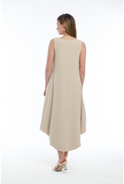 Wınd Kadın Aerobin Kumaşlı Kalın Askılı Önü Kısa Arkası Uzun Elbise Ten Rengi