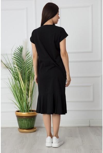 Kalopya Bayan Bisiklet Yaka Volanlı Penye Elbise RBY18