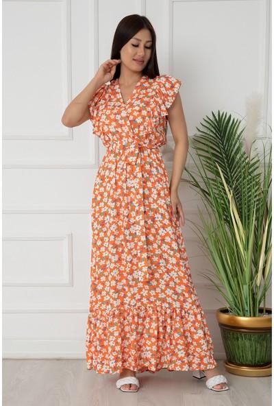 Kalopya Bayan Kollar Fırfır Kruvaze Kemerli Viskon Elbise 54280