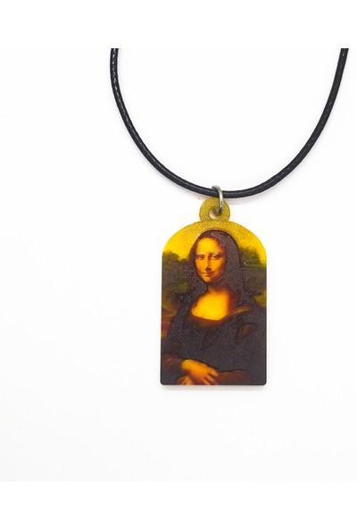 Alp Collection Leonardo Da Vinci Mona Lisa Resim Suni Deri Ipli Hediyelik Kolye