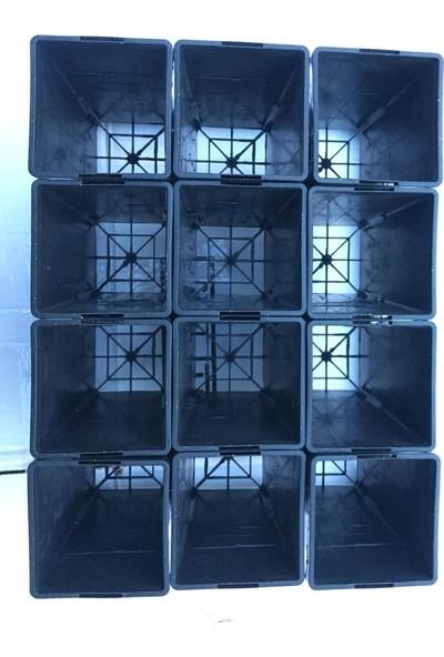 SERFİRAZ Kare Fidan Fide Çelikleme ve Üretimi Saksısı 12 Adet ve Taşıma Sepeti Ölçü 80X80X150