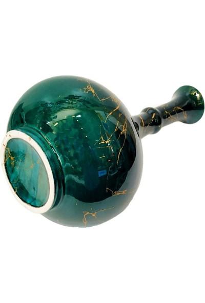 Ege Marketim 20 cm Çini Gözyaşı Vazo-Zümrüt Yeşil/el Yapımı- Kütahya Çinisi