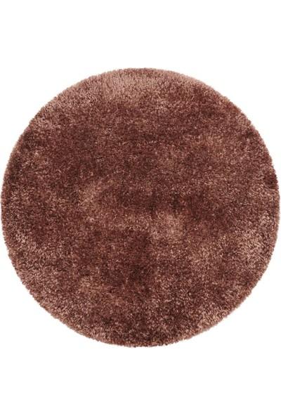 Ayyıldız Yuvarlak Yumuşak Parlak Dokuma Düz Shaggy Halı 5 cm Hav Pastel Bakır
