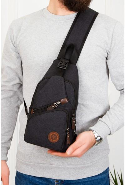 Newish Kanvas Siyah Çapraz Omuz ve Göğüs Çantası USB Çıkışlı (BOY30-EN18)