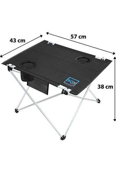 Box&box Bardak Gözlü, Omuz Askılı, Katlanabilir Kamp ve Piknik Masası 57X43X38 cm