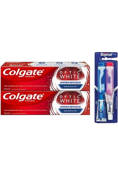 Colgate Optik Beyaz Anında Beyazlık Beyazlatıcı Diş Macunu 75 ml x 2 Adet (Seyahat Seti Hediyeli)