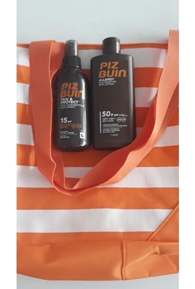 Piz Buin Allergy Sun ( Hassas Ciltler) Spf 50 ve Bronzluğu Uzatıcı Spf 15 150 ml + (Plaj Çanta)