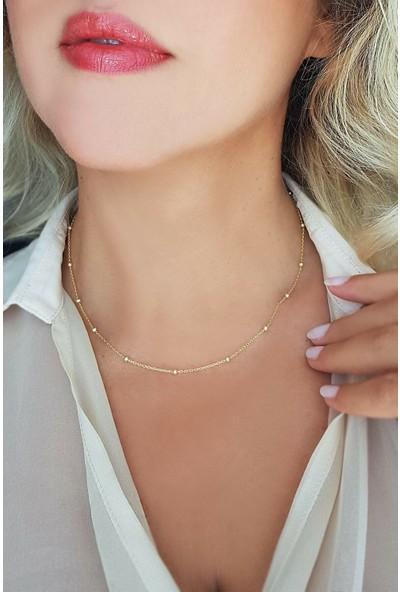 Midyat Nurtaş Gümüş Toplu Model 925 Ayar Saf Gümüş Altın Kaplama Zincir