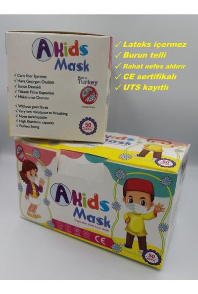 Hcare Yumuşak Elastik Kulaklı Baskılı Çocuk Maske 50 Adet