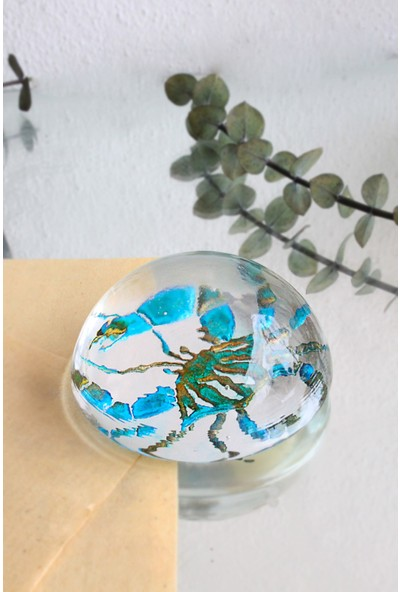Adamodart El Yapımı Yengeç Işlemeli ,el Boyaması Cam Kağıt Ağırlığı