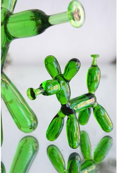 Adamodart Yeşil Balon Köpek Ailesi Cam Biblo Set