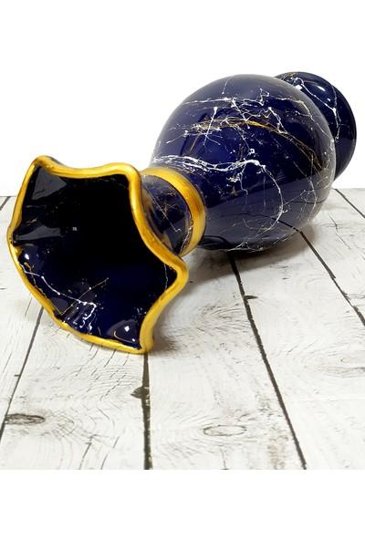 Otogar Çini Mermer Dekorlu Sümbül Marul 30 cm Çini Vazo Lacivert Renk-Gold Yaldızlı