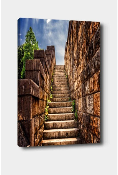 Else Halı Else Kahve Taş Merdivenler Dekoratif Modern Salon Kanvas Tablo