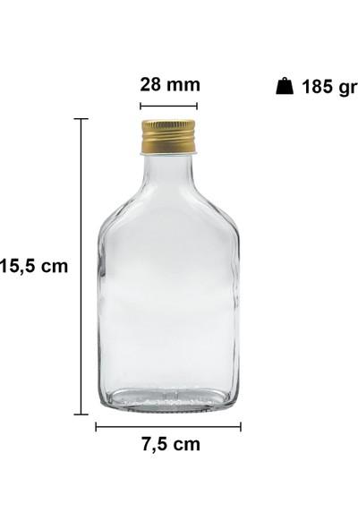 Afracam Cold Brew Şeffaf 200 ml Gold Metal Kapaklı Boş Cam Şişe 15 Adet (Soğuk Kahve)