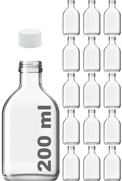 Afracam Cold Brew Şeffaf 200 ml Beyaz Plastik Kapaklı Boş Cam Şişe 15 Adet (Soğuk Kahve)