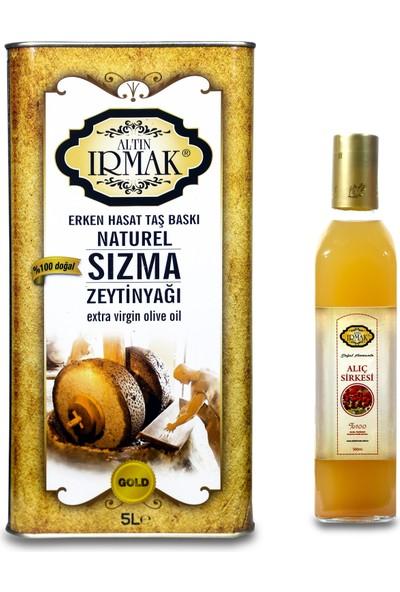Altın Irmak 5 lt Erken Hasat Taşbaskı Natürel Sızma Zeytinyağı + 500 ml Alıç Sirkesi