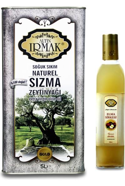 Altın Irmak Soğuk Sıkım Natürel Sızma Zeytinyağı 5 lt + Altın Irmak Doğal Fermente Elma Sirkesi 500 ml