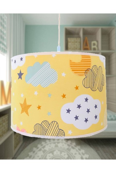 Uyumamy Bulutlu Yıldızlı Çocuk Avizesi Bebek Odası Abajuru Dekoratif Aydınlatma Sarı Sarkıt