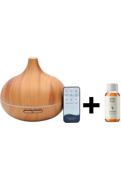 Bood Aromaterapi Koku Cihazı - Aromatik Lavanta Yağı Hediye - Kumandalı - 7 Farklı LED Işık Seçeneği