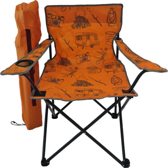 Bofigo Kamp Sandalyesi Katlanır Sandalye Bahçe Koltuğu Piknik Plaj Balkon Sandalyesi Desenli Turuncu