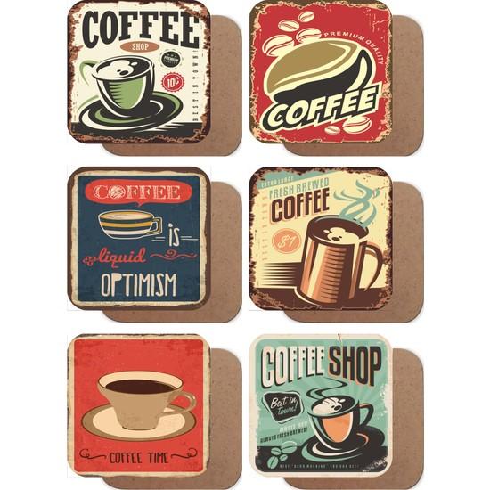 Kahve Retro Vintage Tarz 6lı Ahşap Bardak Altlığı Seti