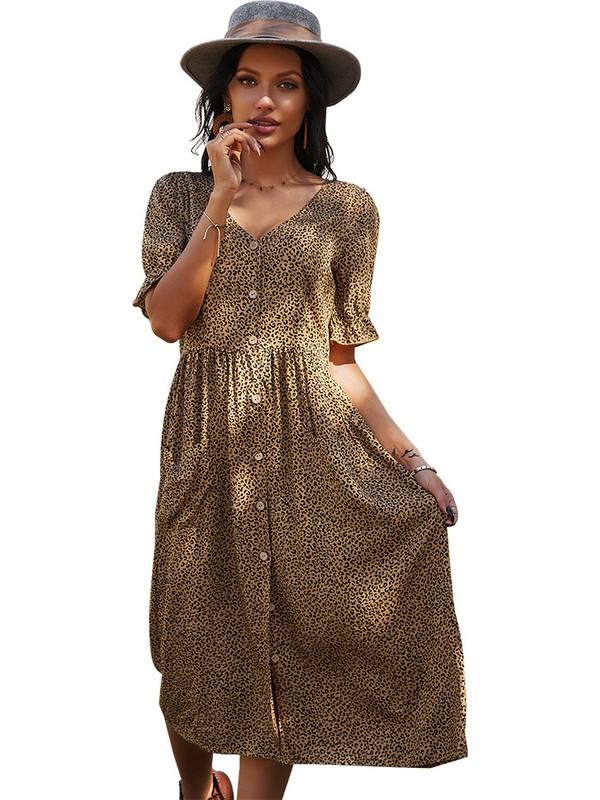 Gogoo Gündelik Yazlık Elbise-Kahverengi